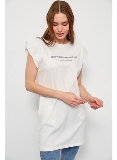 Setre Siyah Vatkalı Kolsuz T-Shirt Ekru